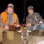 Konner Bullock (left) and Dalton Gregory (right) pose for another shot of Dalton's buck.  The boys wanted a picture together since they were still-hunting together when Dalton took the buck.