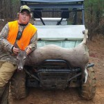 Ethan Bullock with a huge doe he bagged while off to himself during the first dog season.