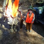 Haley Bullock, daughter of Brent Bullock, and Max Bullock, son of Jalon Bullock, with a hillbilly taken by Jalon during the late rabbit season.
