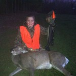 Eli Duffie took his first and second deer while hunting on the club this year.  Here is number one!