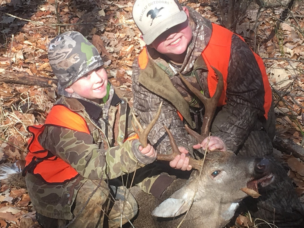 Max Bullock (left) & GW Boileau (right) pose with a buck taken in December.